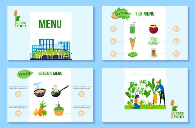 Ilustração do menu de comida verde.
