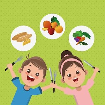 Ilustração do menu infantil, alimentos e nutrição relacionados