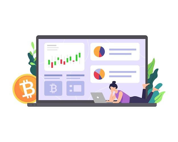Ilustração do mercado de criptomoeda pessoas analisam gráfico de investimento e negociação de dinheiro digital