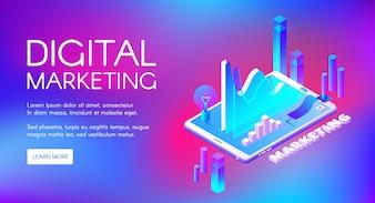 Ilustração do mercado de Digitas da pesquisa e do desenvolvimento de mercado do negócio.