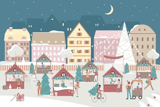 Ilustração do mercado de rua da cidade à noite de natal.