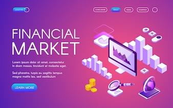 Ilustração do mercado financeiro de marketing digital e Bitcoin cryptocurrency trade statistic