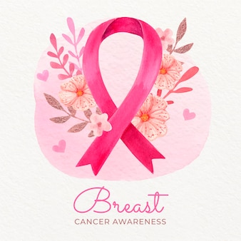 Ilustração do mês de conscientização do câncer de mama em aquarela