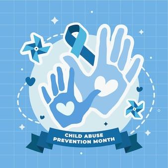 Ilustração do mês nacional de prevenção do abuso infantil desenhada à mão