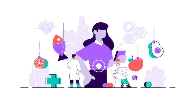 Ilustração do metabolismo. comida minúscula plana ao conceito de pessoas de conversão de energia. reações químicas nutricionais minúsculas na síntese de organismos. processo digestivo abstrato e símbolos de bioquímica.