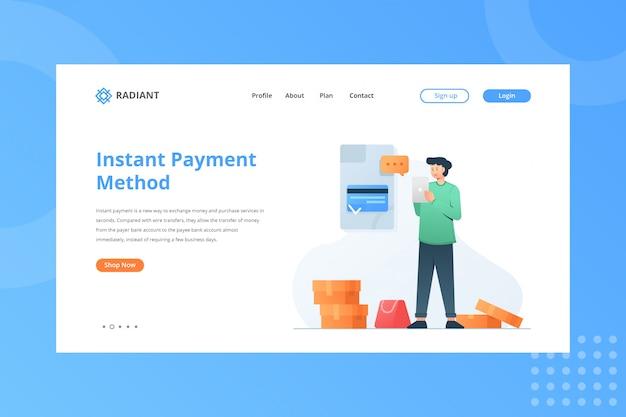Ilustração do método de pagamento instantâneo para o conceito de comércio eletrônico na página inicial