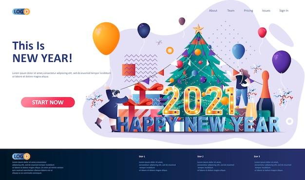 Ilustração do modelo da página de destino de feliz ano novo de 2021