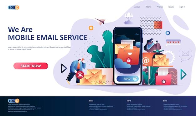 Ilustração do modelo da página de destino do serviço de e-mail móvel