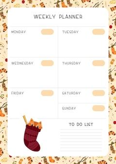 Ilustração do modelo da página do planejador semanal