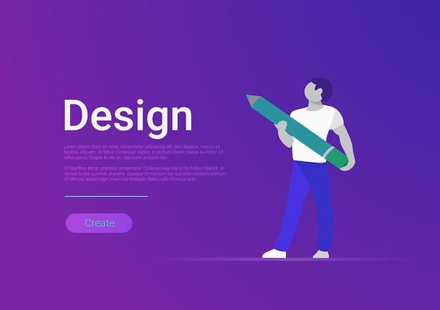 Ilustração do modelo de banner em vetor design plano artista designer masculino segurando um lápis enorme