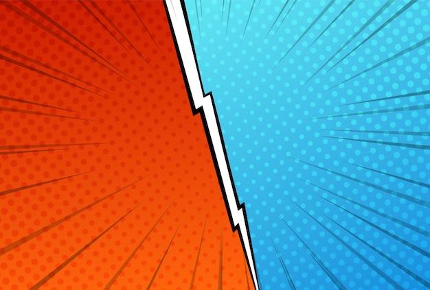 Ilustração do modelo de batalha versus estilo pop art dos lados vermelho e azul