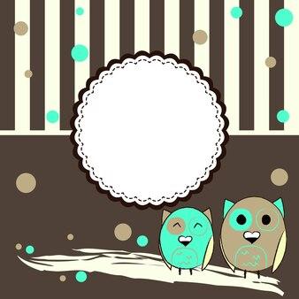 Ilustração do modelo de cartão postal com círculos e duas corujas