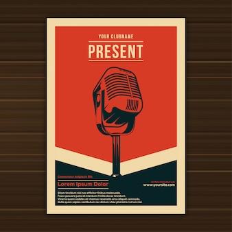 Ilustração do modelo de cartaz de evento de música vintage