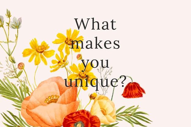 Ilustração do modelo de citação floral vintage, remixada de obras de arte de domínio público