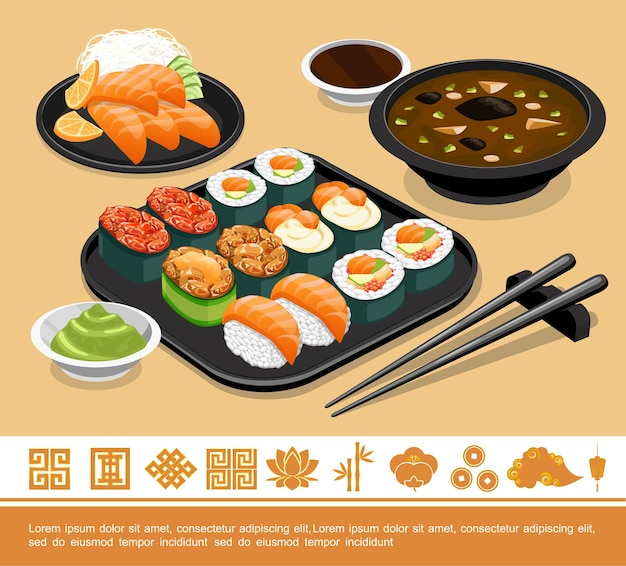 Ilustração do modelo de comida japonesa tradicional plana