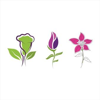 Ilustração do modelo de design de ícone de vetor de flores
