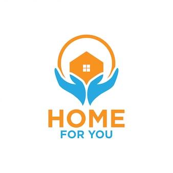 Ilustração do modelo de design de logotipo para casa e mão