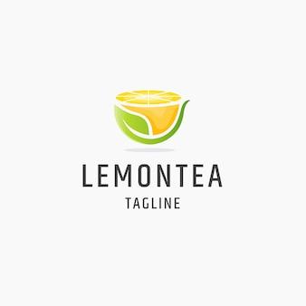 Ilustração do modelo de design plano do ícone do logotipo do chá de limão