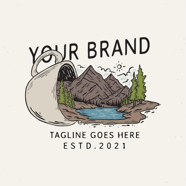 Ilustração do modelo de emblema do copo da montanha