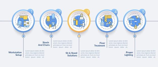 Ilustração do modelo de infográfico de projeto de estação de trabalho