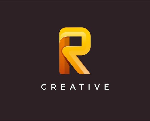 Ilustração do modelo de logotipo com letra r mínima