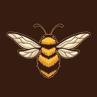Ilustração do modelo de logotipo dos desenhos animados inseto abelha. esport logo gaming