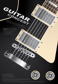 Ilustração do modelo de pôster de concerto de guitarra
