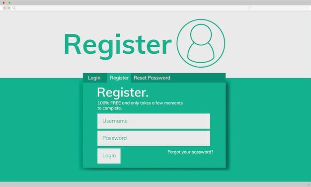 Ilustração do modelo de registro de conta