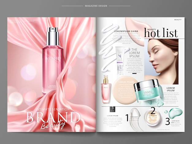 Ilustração do modelo de revista de cosméticos