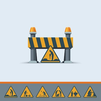 Ilustração do modelo de sinal de estrada bonita em construção com vários sinais no fundo branco