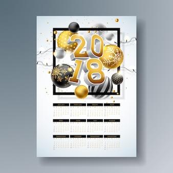 Ilustração do modelo do calendário 2018 com ouro número 3d, bola de natal e festão luz no fundo brilhante