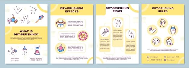 Ilustração do modelo do folheto de instruções de escovação a seco