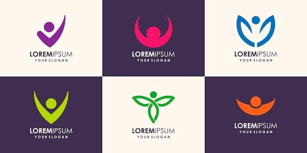 Ilustração do modelo do logotipo da people com algumas opções de imagem