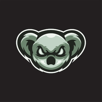Ilustração do modelo do logotipo de cabeça animal koala. vetor premium de jogos de logotipo esport