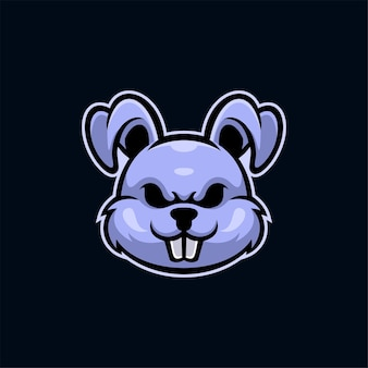 Ilustração do modelo do logotipo de cabeça de animal coelho. vetor premium de jogos de logotipo esport