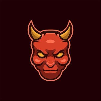 Ilustração do modelo do logotipo de cabeça do diabo. vetor premium de jogos de logotipo esport