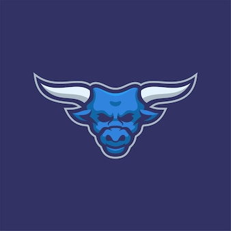 Ilustração do modelo do logotipo do desenho animado da cabeça do animal de búfalo vetor premium do logotipo do esporte