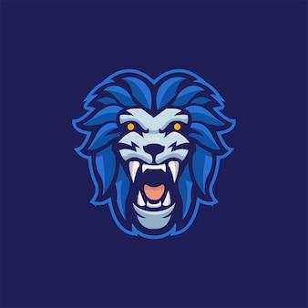 Ilustração do modelo do logotipo do desenho animado da cabeça do animal do leão logotipo esport do vetor premium do jogo