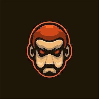 Ilustração do modelo do logotipo do desenho animado da cabeça do homem barba logo esport vector premium para jogos