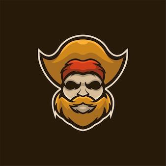 Ilustração do modelo do logotipo do desenho animado da cabeça do pirata logo esport vector premium para jogos