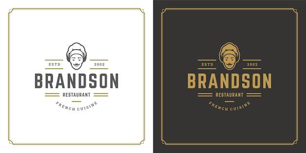 Ilustração do modelo do logotipo do restaurante chef cara na silhueta do chapéu