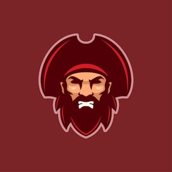 Ilustração do modelo do logotipo dos desenhos animados cabeça pirata com raiva. vetor premium de jogos de logotipo esport