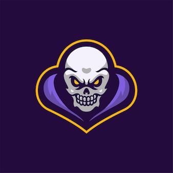 Ilustração do modelo do logotipo dos desenhos animados da cabeça do crânio logo esport vector premium para jogos