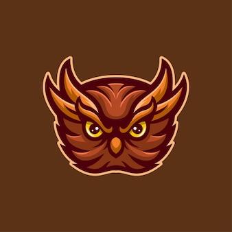 Ilustração do modelo do logotipo dos desenhos animados de cabeça animal coruja. vetor premium de jogos de logotipo esport