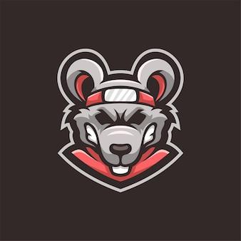 Ilustração do modelo do logotipo dos desenhos animados de cabeça de animal mousmouse. esporte logo gaming ilustração do modelo de logotipo em desenho animado com cabeça de animal premium vectore. vetor premium de jogos de logotipo esport