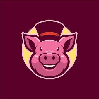 Ilustração do modelo do logotipo dos desenhos animados de cabeça de animal porco. vetor premium de jogos de logotipo esport
