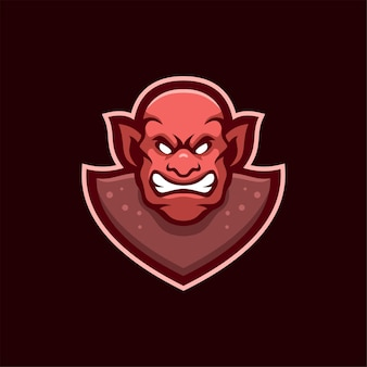 Ilustração do modelo do logotipo dos desenhos animados de cabeça do diabo com raiva. vetor premium de jogos de logotipo esport