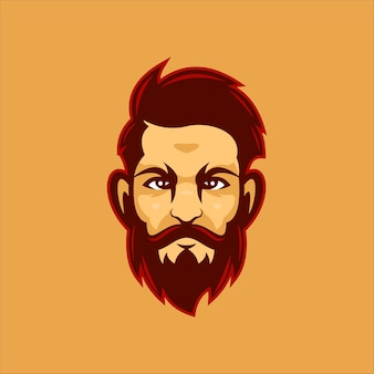 Ilustração do modelo do logotipo dos desenhos animados de cabeça homem barba. vetor premium de jogos de logotipo esport