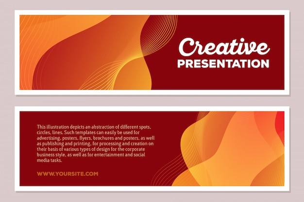 Ilustração do molde da composição abstrata colorida amarela com texto em fundo marrom, formato horizontal. conceito de apresentação criativa. frente e verso.