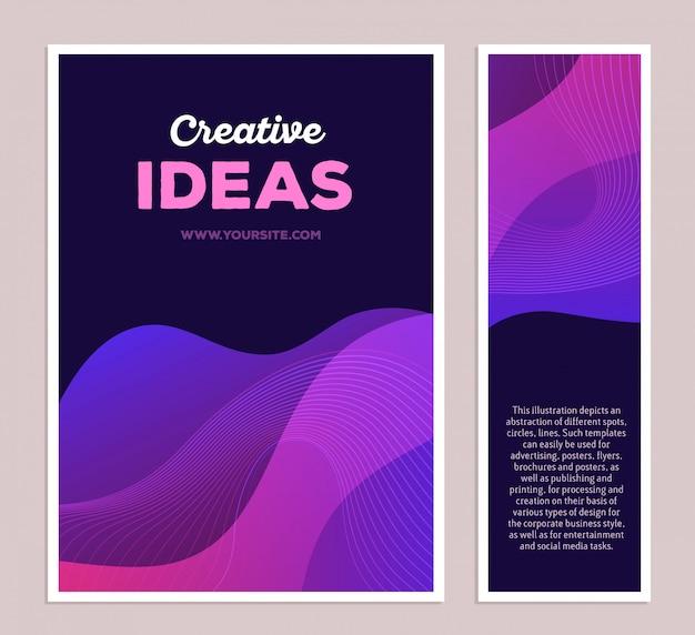 Ilustração do molde da composição abstrata colorida roxa com texto em fundo preto, dois formatos. conceito de idéias criativas.
